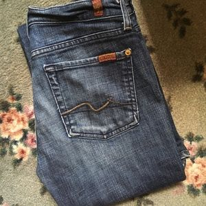 7FAM Dark Wash Lightly Distressed Flare Jeans